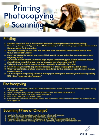 Printing Photocopying & Scanning