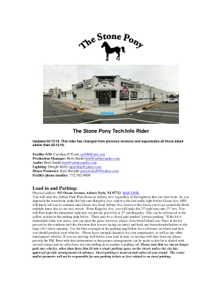 The Stone Pony Tech/Info Rider