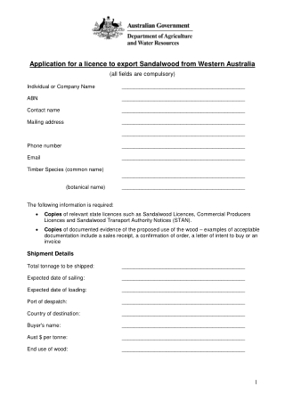 Application for a licence to export Sandalwood from Western Australia