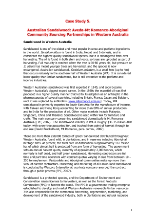Case Study 5. Australian Sandalwood: Aveda-Mt Romance-Aboriginal Community Sourcing Partnerships in Western Australia