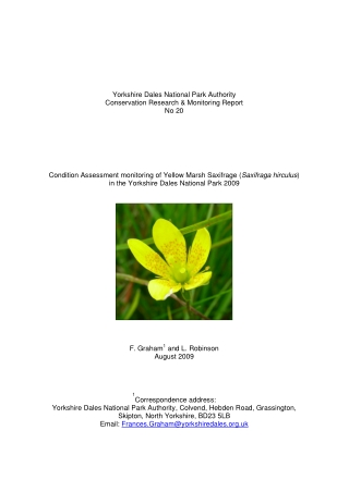 Yorkshire Dales National Park Authority Conservation Research & Monitoring Report No 20 Condition Assessment monitoring of Yellow Marsh Saxifrage (
