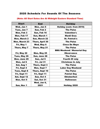 20 Schedule For Sounds Of The Schedule For Sounds Of The Seasons Seasons
