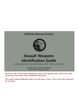 Assault Weapons Identification Guide