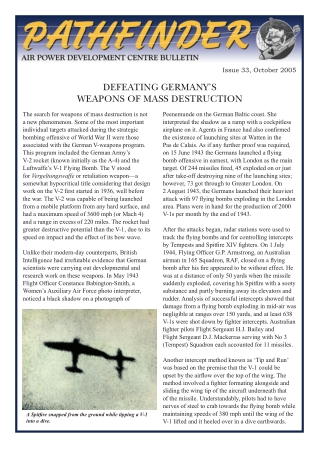 DEFEATING GERMANY'S WEAPONS OF MASS DESTRUCTION