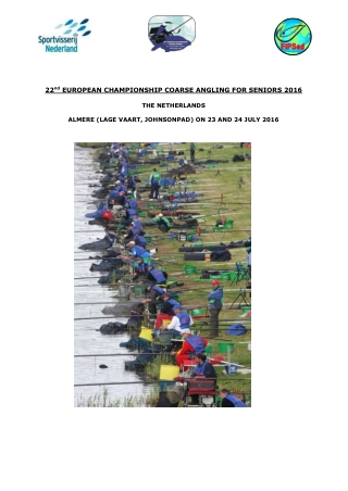 EUROPEAN CHAMPIONSHIP COARSE ANGLING FOR SENIORS 2016