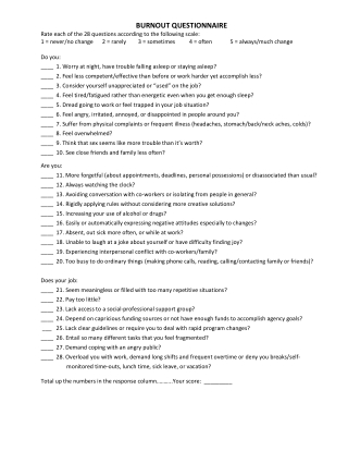 BURNOUT QUESTIONNAIRE