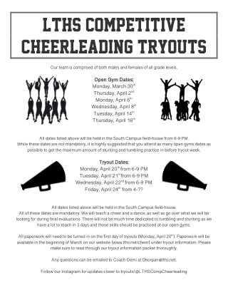 LTHS COMPETITIVE CHEERLEADING TRYOUTS