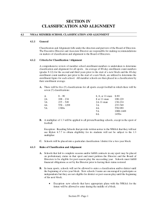 SECTION IV CLASSIFICATION AND ALIGNMENT