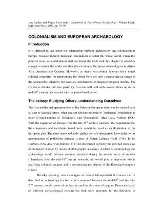 COLONIALISM AND EUROPEAN ARCHAEOLOGY