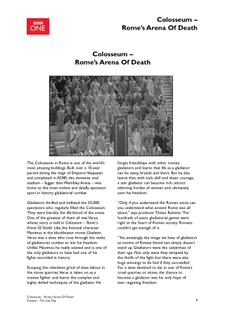 Colosseum – Rome's Arena Of Death Colosseum – Rome's Arena Of Death