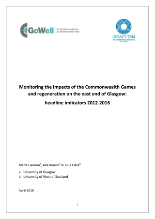 Monitoring the impacts of the Commonwealth Games and regeneration on the east end of Glasgow: headline indicators 2012-2016