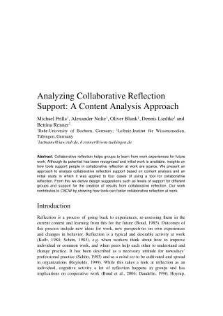 Analyzing Collaborative Reflection Support: A Content Analysis Approach