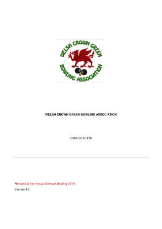 WELSH CROWN GREEN BOWLING ASSOCIATION