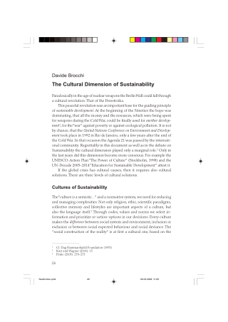 The Cultural Dimension of Sustainability