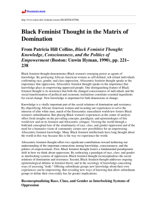 Black Feminist Thought in the Matrix of Domination