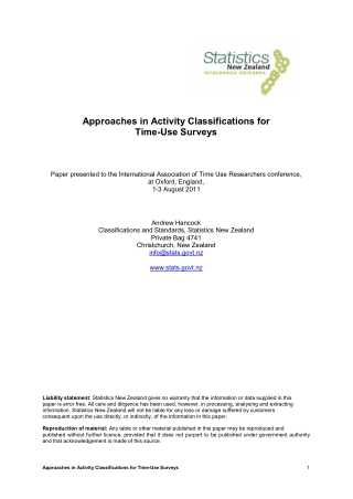Approaches in Activity Classifications for Time-Use Surveys