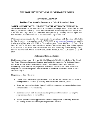 NEW YORK CITY DEPARTMENT OF PARKS & RECREATION NOTICE OF ADOPTION
