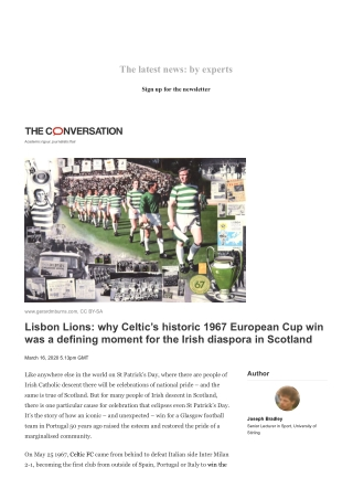 Lisbon Lions: why Celtic's historic 1967 European Cup win was a defining moment for the Irish diaspora in Scotland