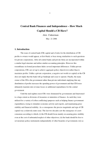 Central Bank Finances and Independence – How Much Capital Should a CB Have?
