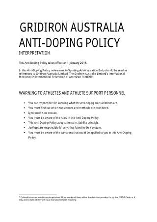 GRIDIRON AUSTRALIA ANTI-DOPING POLICY