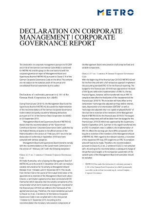 DECLARATION ON CORPORATE MANAGEMENT | CORPORATE GOVERNANCE REPORT
