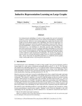 Inductive Representation Learning on Large Graphs