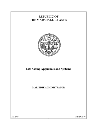 REPUBLIC OF THE MARSHALL ISLANDS Life Saving Appliances and Systems