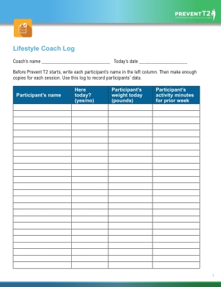 Lifestyle Coach Log