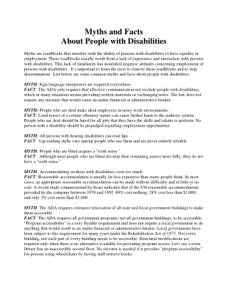Myths and Facts About People with Disabilities