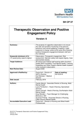Therapeutic Observation and Positive Engagement Policy