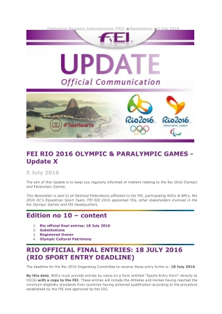 FEI RIO 2016 OLYMPIC & PARALYMPIC GAMES - Update X