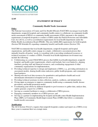 STATEMENT OF POLICY Community Health Needs Assessment