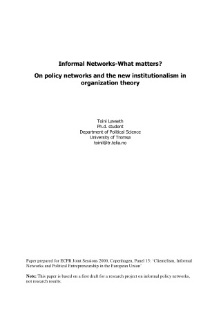 Informal Networks-What matters? On policy networks and the new institutionalism in organization theory