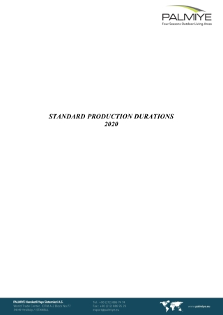 STANDARD PRODUCTION DURATIONS 2020
