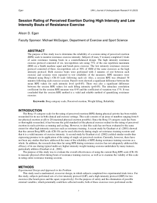 Session Rating of Perceived Exertion During High Intensity and Low Intensity Bouts of Resistance Exercise