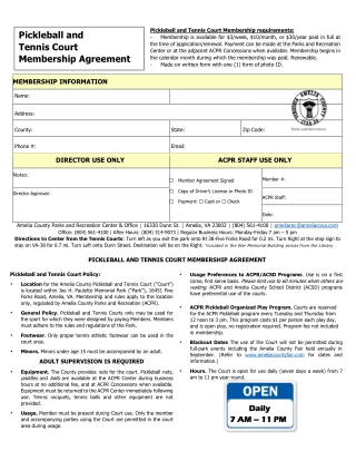 Pickleball and Tennis Court Membership Agreement