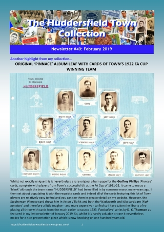 ORIGINAL 'PINNACE' ALBUM LEAF WITH CARDS OF TOWN'S 1922 FA CUP WINNING TEAM