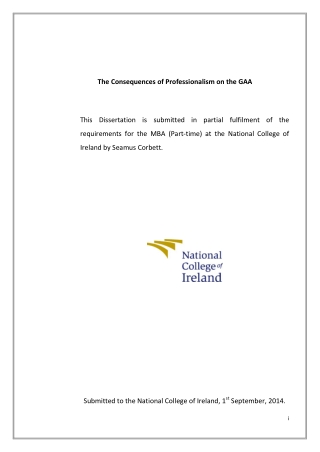 The Consequences of Professionalism on the GAA