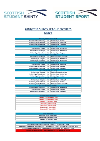 2018/2019 SHINTY LEAGUE FIXTURES