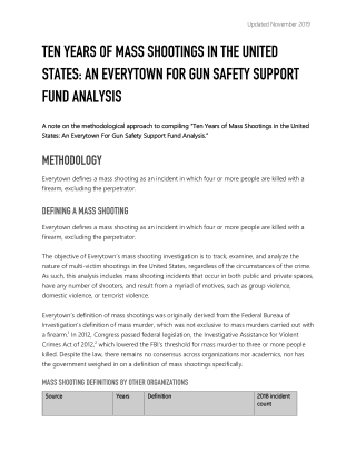 TEN YEARS OF MASS SHOOTINGS IN THE UNITED STATES: AN EVERYTOWN FOR GUN SAFETY SUPPORT FUND ANALYSIS