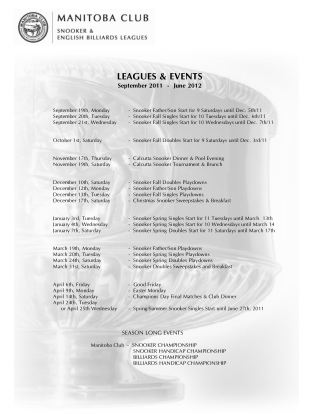 LEAGUES & EVENTS