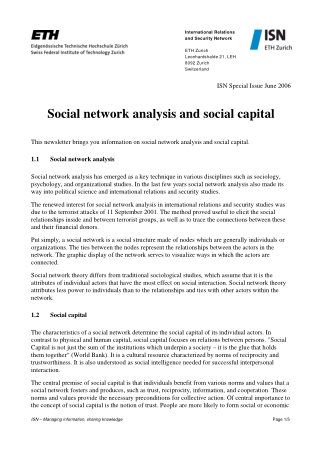 Social network analysis and social capital