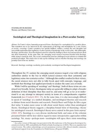Sociological and Theological Imagination in a Post-secular Society