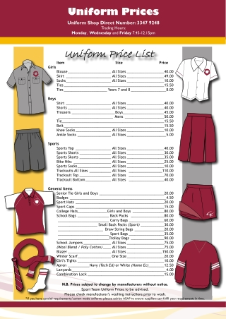 Uniform Price List