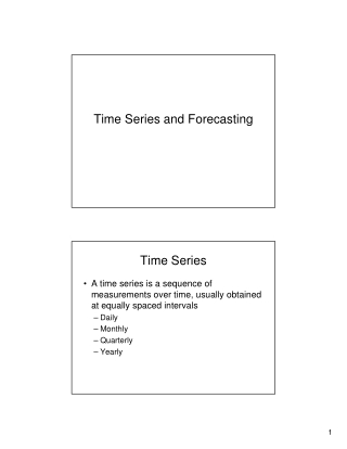Time Series and Forecasting Time Series