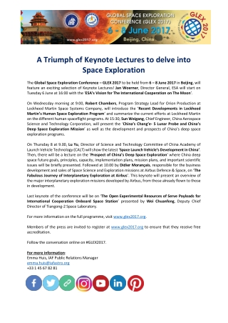 A Triumph of Keynote Lectures to delve into Space Exploration