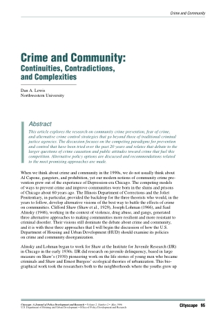 Crime and Community: