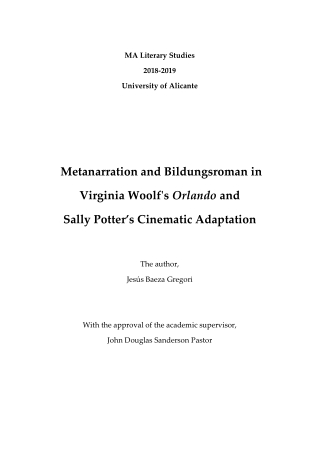Metanarration and Bildungsroman in Virginia Woolf's