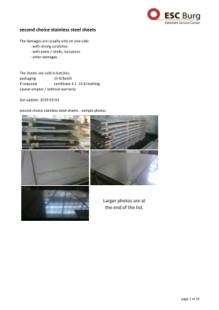 second choice stainless steel sheets