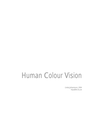Hum an Colour Vision